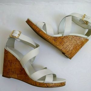 Cole Haan White Cork Style Sandal